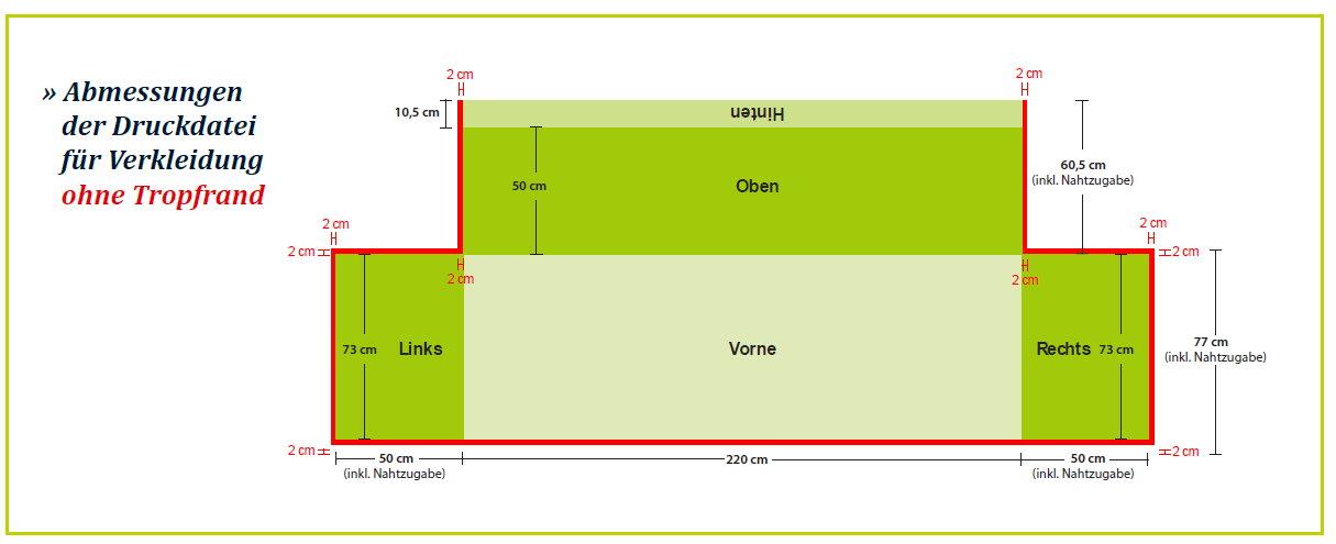 Biertisch- und Palettenhussen Abmessungen Grafik