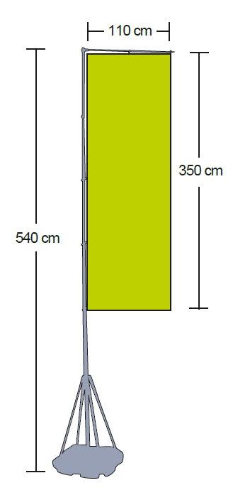 Outdoor Flag als Fahnensystem für den Außenbereich Maße